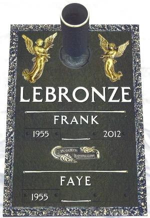 double interment bronze headstone on granite base with sculpted angels design and flower vase