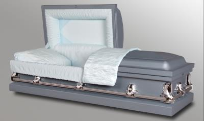 light blue 20 gauge steel casket with silver handles and light blue crepe interior