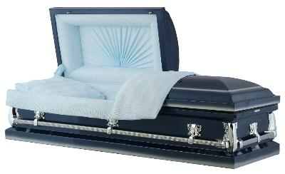 navy blue with silver accent casket with light blue crepe interior and fixed handles