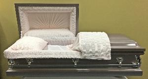 orchid pink casket with pink crepe interior and fixed handles