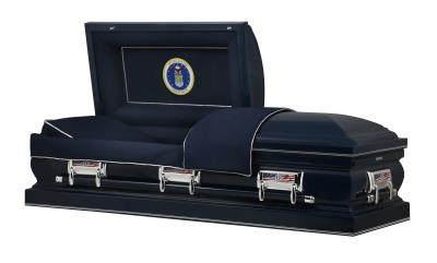 Navy Blue US Air Force Themed casket with Air Force Seal panel