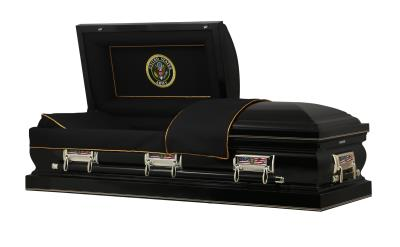 Black US Army Themed casket with Army Seal panel