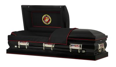 Black US Marine Corps Themed casket with USMC panel