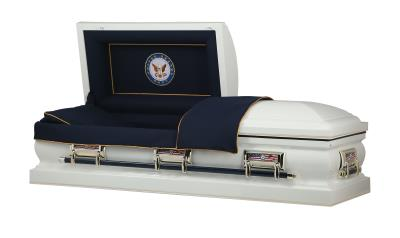 White US Navy Themed casket with Navy Seal panel