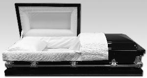 black 20 gauge steel casket with silver handles and white crepe interior