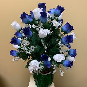 Vase Flowers Blue and White Roses
