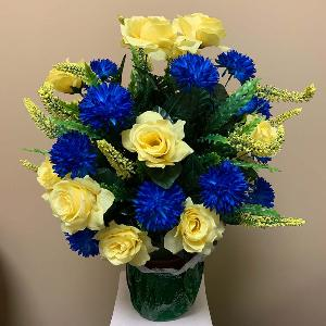 Vase Flowers Mixed Blue and Yellow