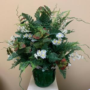 Vase Flowers Mixed Greenery