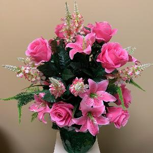 Vase Flowers Mixed Pink