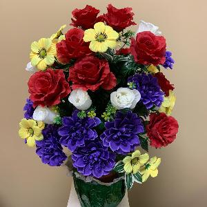 Vase Flowers Mixed Red White Blue and Yellow