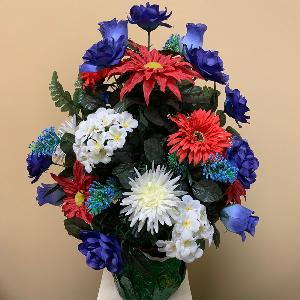 Vase Flowers Mixed Red White and Blue