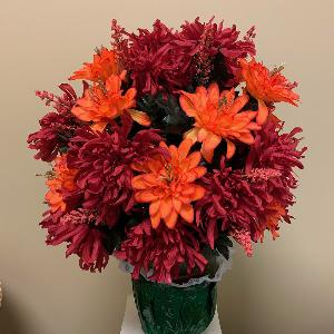 Vase Flowers Mixed Red and Orange
