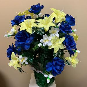 Vase Flowers Mixed Yellow Blue and White