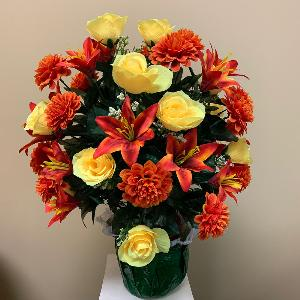 Vase Flowers Mixed Yellow and Orange