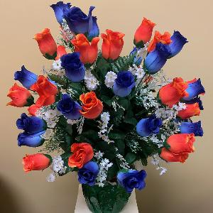 Vase Flowers Orange and Blue Roses