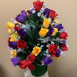 Vase Flowers Red Purple and Yellow Roses