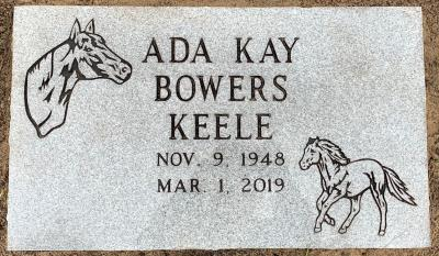 individual granite headstone with horse bust and galloping horse emblems