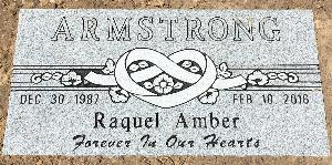 Granite Gravestone Heart Ribbon