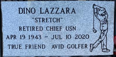 individual gray granite headstone with a golfer emblem