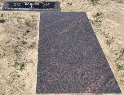 Royal Mahogany Granite Ledger Memorial with matching headstone