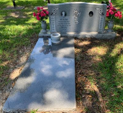 Georgia Gray Granite Ledger Memorial with Incense Bowl and Companion Granite Upright Headstone
