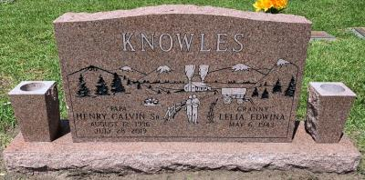companion granite headstone with a country mountain scene on morning rose granite