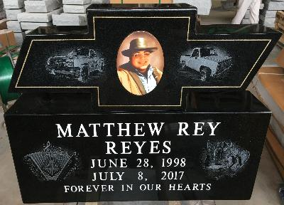 Granite Gravestone Monument Black Chevy Chevrolet Picture