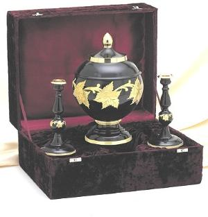 elegante brass ebony leaf cremation set