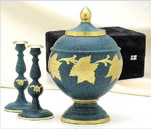 elegante brass patina leaf cremation set
