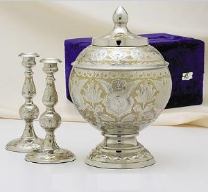 elegante brass silver gold cremation set